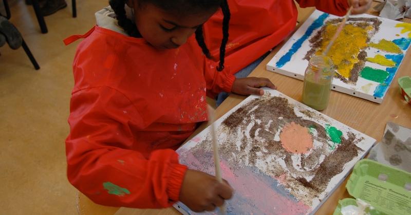 Schilderen met koffie, zand, zeewier en verf....in ieder gewenst thema.