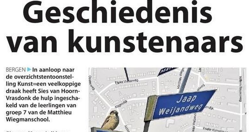 Kunstenaarsstraatnamen Bergen:  wie is dat van die weg?