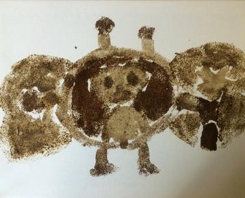 Afbeelding 4 Schilderen met koffie, zand, zeewier en verf....in ieder gewenst thema.