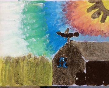 Afbeelding 7 Schilderen met koffie, zand, zeewier en verf....in ieder gewenst thema.