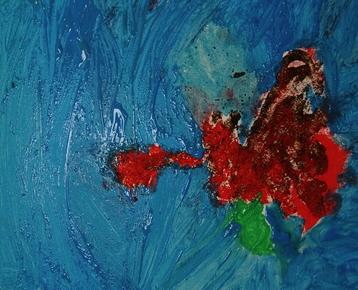 Afbeelding 1 Schilderen met koffie, zand, zeewier en verf....in ieder gewenst thema.