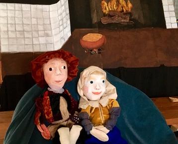 Afbeelding 1 Geschiedenis :Rembrandt voorstelling en workshop verf-maken:  poppentheater 'Belletje Sterk'