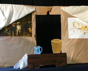 Afbeelding 6 Geschiedenis :Rembrandt voorstelling en workshop verf-maken:  poppentheater 'Belletje Sterk'