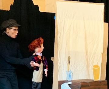 Afbeelding 8 Geschiedenis :Rembrandt voorstelling en workshop verf-maken:  poppentheater 'Belletje Sterk'